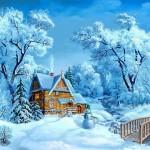 Karlar altında kartpostallıkev